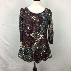 Kim Rogers Multi Colored Paisley Print Lace Top